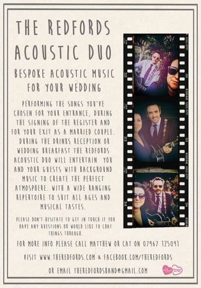 The Redfords Acoustic Duo Wedding Band Kent