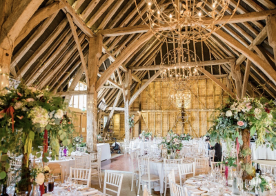 inside barn formal decoration
